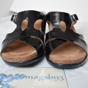 Dansko Black Patent Heeled Sandals Size 40, US 9.5